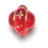 Glass Saturn Bead 8mm Transparent Ruby Bronze Painted Strung